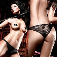 BL952-SM Beauty Inside The Beast Трусики черные с кружевными узорами сзади