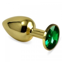 Анальная пробка,золото,цвет камня зелёный.Размер 8,3 см х 3,0 см