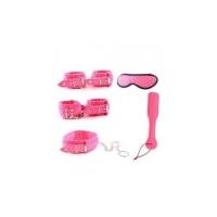 NC-0421 БДСМ НАБОР из 5 предметов.Экокожа,мягкая ткань-плюш,металл.Цвет розовый,черный