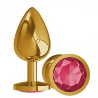 Анальная пробка,золото.Пурпурный камень.Размер 7,0 см x2,5 см.