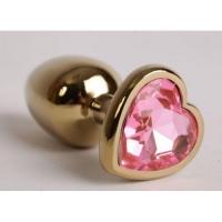 Анальная пробка,золото,цвет камня розовый,сердечко.Размер 7,0 см x 2,5 см